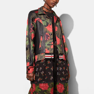 COACH Coach Camo Rose Varsity Jacket With Raglan Sleeve $995 thestylecure.com