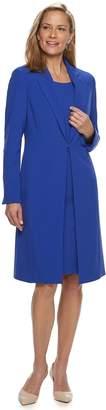 Le Suit Women's Notch Collar Shiny Jacket & Sheath Dress Set