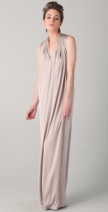 Chalayan grey line Asymmetrical Scarf Long Dress