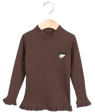 Tartine et Chocolat Girls' Ruffle-trimmed Rib Knit Top w/ Tags