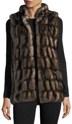 Fabulous Furs Couture Faux-Fur Stand-Collar Vest