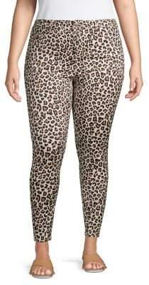 Design Lab Plus Leopard-Print Cotton-Blend Ankle-Length Pants