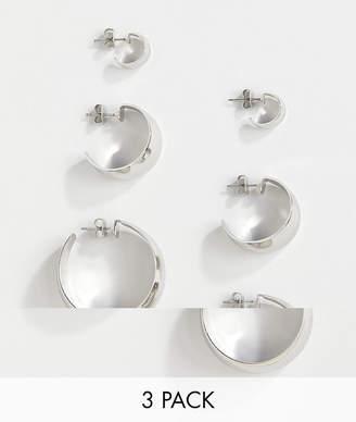 Monki 3 pack hoop earrings in silver