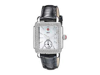 Michele Deco Mid Diamond Black Alligator Watch