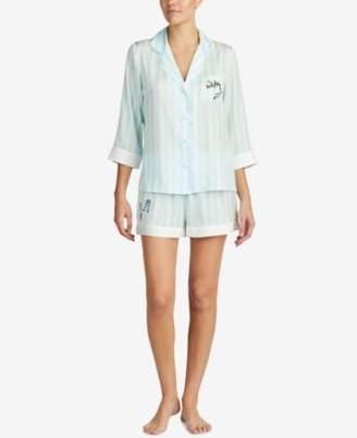 Betsey Johnson Blue by Contrast-Trim Pajama Set
