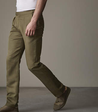 Reiss BOARD SIDE FASTEN LINEN TROUSERS Khaki