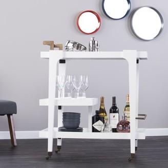Mid-Century MODERN Southern Enterprises Holly & Martin Zhori Midcentury Modern Bar Cart, White