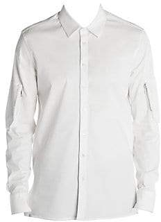 Neil Barrett Men's Zip-Pocket Sleeve Woven Button-Down Shirt