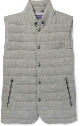 Ralph Lauren Purple Label Whitwell Quilted Wool, Linen And Cotton-Blend Down Gilet