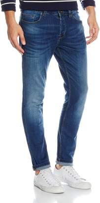 ONLY & SONS Mens Designer Slim Fit Stretch Straight Leg Dark Blue Jeans