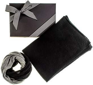 Black Cashmere Poncho and Cashmere Snood Gift Set