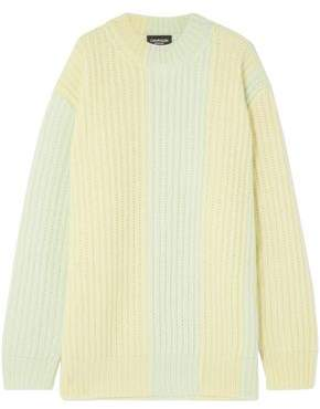 Calvin Klein Striped Ribbed Mohair-blend Sweater