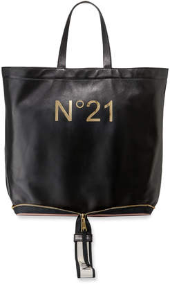 No.21 No. 21 Leather Big Foldable Shopping Tote Bag