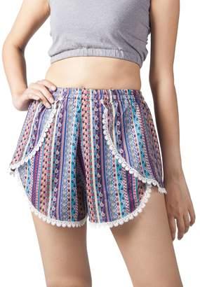 Lofbaz Women's Printed Lace Summer Shorts Green S