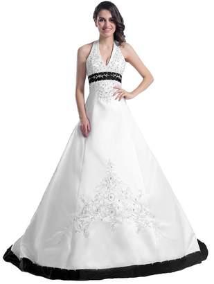 Edaier Women's Beaded Halter Embroidery Satin Wedding Dress Vintage Bride Gown