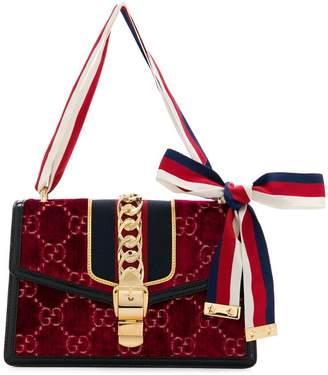 Gucci small Sylvie GG velvet shoulder bag