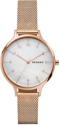 Skagen Women's Anita Rose Gold-Tone Stainless Steel Mesh Bracelet Watch 36mm SKW2633