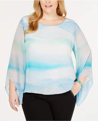 Alfani Plus Size Angel-Sleeve Blouse