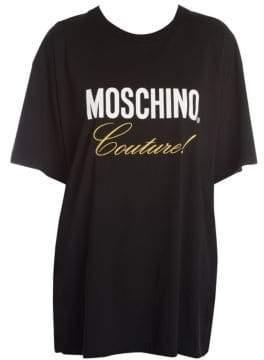 Moschino Women's Oversize Logo Couture Tee - Black Multi - Size XS