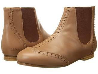 Chloé Kids Calf Leather Ankle Boots with Leather Yokes (Little Kid)