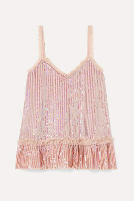 Needle & Thread Tulle-trimmed Sequined Chiffon Camisole - Pink