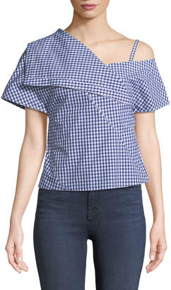 Theory One-Shoulder Foldover Hartman Gingham Top