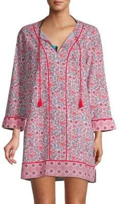 Printed Self-Tie Cotton Cover-Up