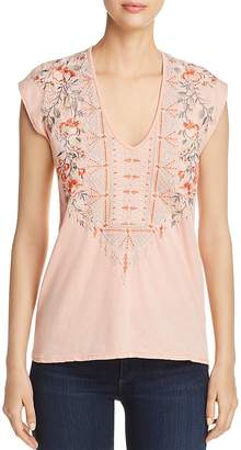 Johnny Was Calida Embroidered Cap-Sleeve Top