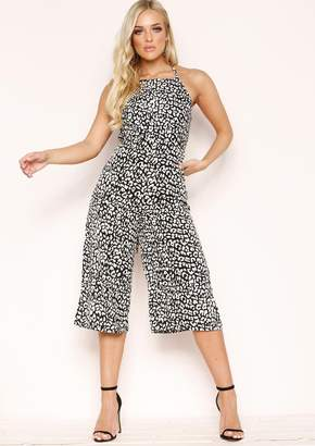88fc88ce6e58 Missy Empire Missyempire Leona Cream Leopard Print Tie Up Back Culotte  Jumpsuit