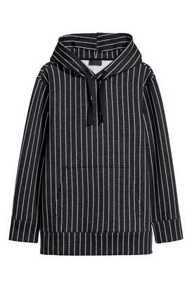 H&M Striped Hooded Sweatshirt - Black melange/white striped - Men
