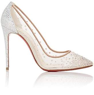 Christian Louboutin Women's Follies Strass Mesh & Leather Pumps - Version Crystal