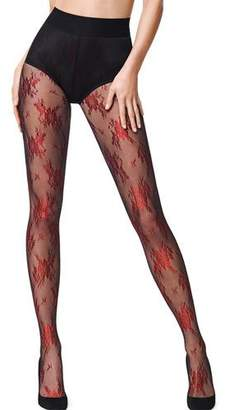 Wolford Lea Metallic Floral-Pattern Tights