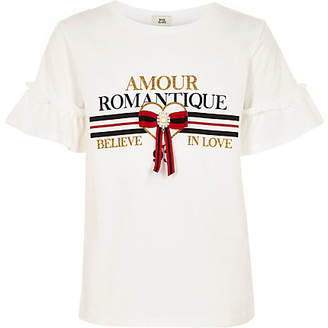 River Island Girls White 'Amour' frill sleeve T-shirt
