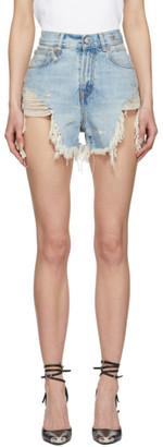 R 13 Blue Shredded Slouch Short