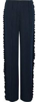 Cinq à Sept Sedona Ruffle-Trimmed Pinstriped Twill Wide-Leg Pants