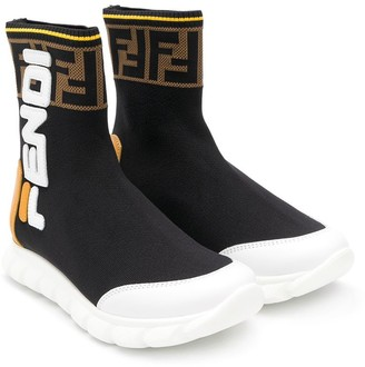 Fendi logo colour-block sneaker boots