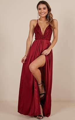 Showpo Tied To You Dress In Wine Satin - 12 (L) Formal Dresses