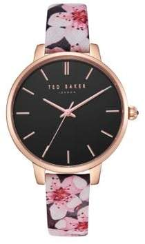 Ted Baker Kate Floral Leather-Strap Watch