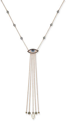 Paul & Pitu Naturally Rose Gold-Tone Freshwater Pearl (11 x 8mm) Weeping Eye Lariat Necklace