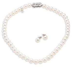 adb337a26 Mikimoto Women's Ginza Diamond, 8MM White Akoya Pearl Stud Earrings &  Necklace Set