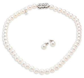 Mikimoto Women's Ginza Diamond, 8MM White Akoya Pearl Stud Earrings & Necklace Set