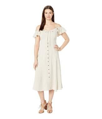 American Rose Natalie Cold Shoulder Button Up Dress