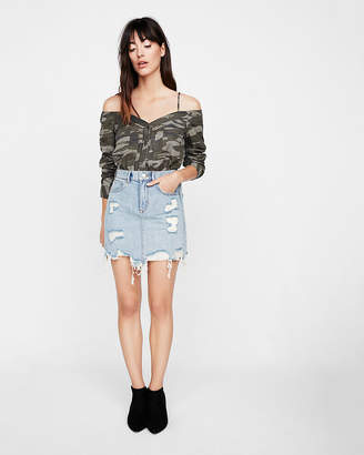 Express Camo Cold Shoulder Pintuck Button-Up Shirt