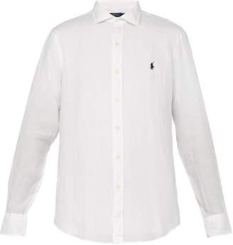 Polo Ralph Lauren Logo Embroidered Slubbed Linen Shirt - Mens - White