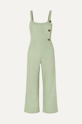 Faithfull The Brand Sainte Marie Shirred Linen Jumpsuit - Mint