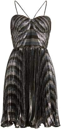 Maria Lucia Hohan Gaia striped pleated lamé mini dress
