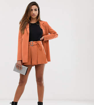 Missguided pleated shorts co-ord in orange
