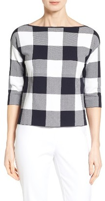 Women's Nordstrom Collection Bateau Neck Gingham Sweater $199 thestylecure.com