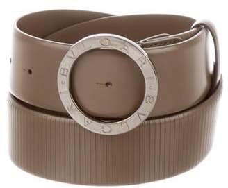 Bvlgari Logo Leather Belt silver Logo Leather Belt