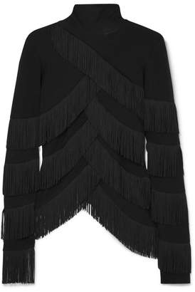 Y/Project Fringed Stretch-jersey Turtleneck Top - Black